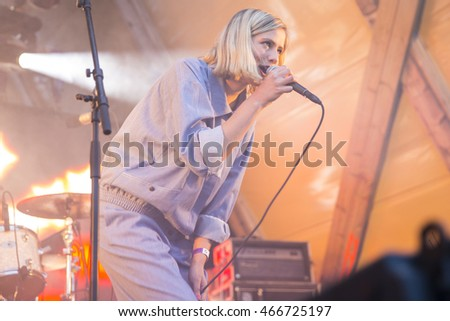 Traena, Norway - July 08 2016: concert of Norwegian pop musician and singer Dagny Norvoll Sandvik at Traenafestival, music festival taking place on the small island of Traena