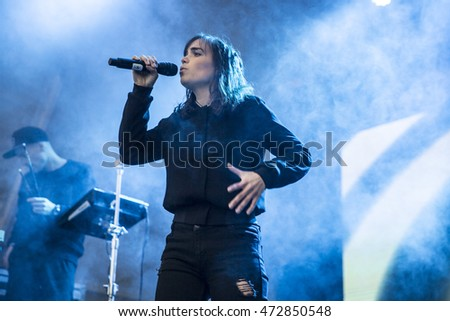 Traena, Norway - July 9 2016: concert of Norwegian singer Ary  at Traenafestival, music festival taking place on the small island of Traena