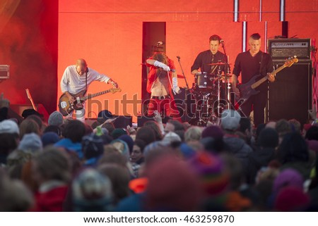 Traena, Norway - July 08 2016: concert of Swedish rock band Bob Hund  at Traenafestival, music festival taking place on the small island of Traena