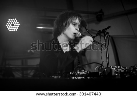 Traena, Norway - July 9 2015: Finnish electronic music artist Long Sam performing at the Traenafestival, music festival taking place on the small island of Traena