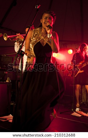 Traena, Norway - July 11 2014: Norwegian electronic soul singer Nosizwe at the Traenafestival, music festival taking place on the small island of Traena