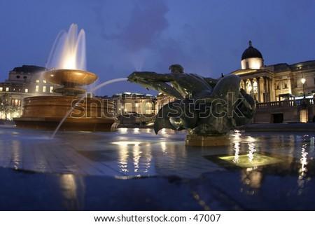 Trafalgar Square by Night, London - stock photo