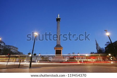 Trafalgar Square with Nelson Column in the early morning - stock photo