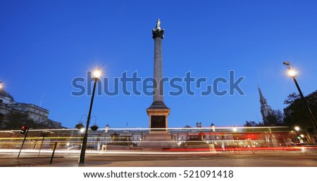 Trafalgar Square with Nelson Column in the early morning