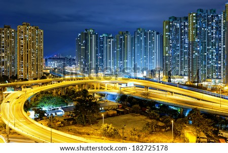 traffic , aerial view of the city overpass at night, HongKong,Asia China - stock photo