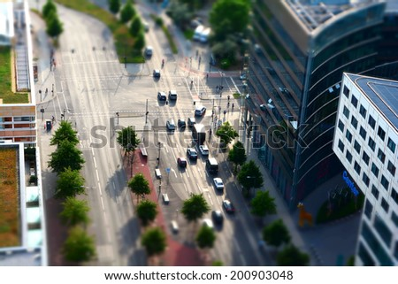 traffic at a road junction in the inner city of Berlin  - stock photo