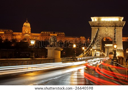 Traffic at Chain bridge, Budapest at night