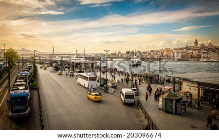 Traffic at Eminonu harbor, near Galata bridge, Istanbul - 1st May 2014 - stock photo