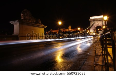 traffic at night on Chain bridge, Budapest Hungary