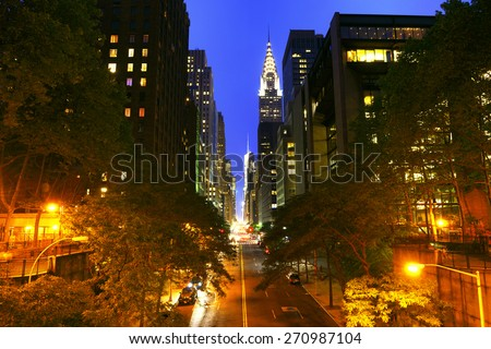 Traffic at night on 42nd Street, New York City - stock photo
