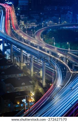traffic at night, shanghai china. - stock photo