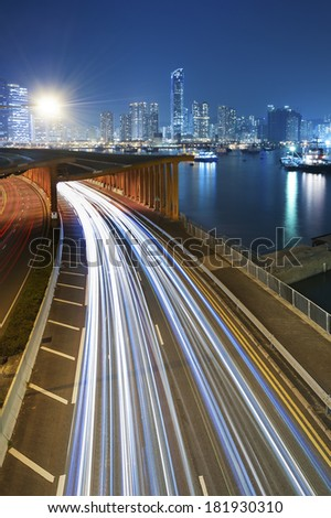 Traffic at night with urban background
