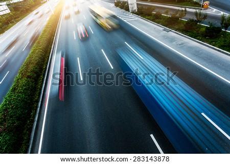traffic at shanghai china. blue toned image. - stock photo