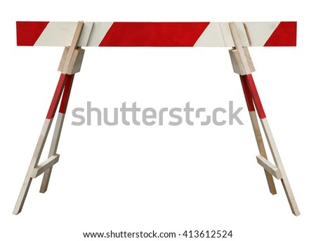 Traffic barrier wooden obstacle on road - stock photo