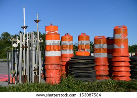 Traffic Barriers - stock photo