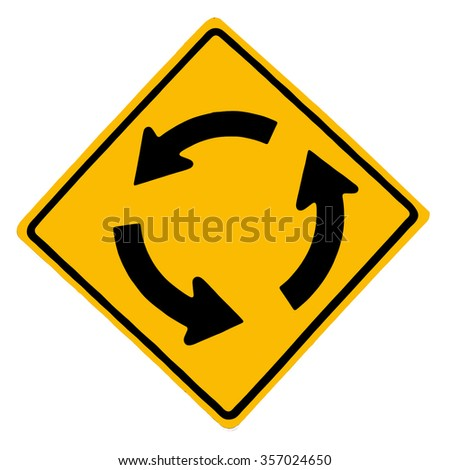 Traffic circle road sign on white background - stock photo
