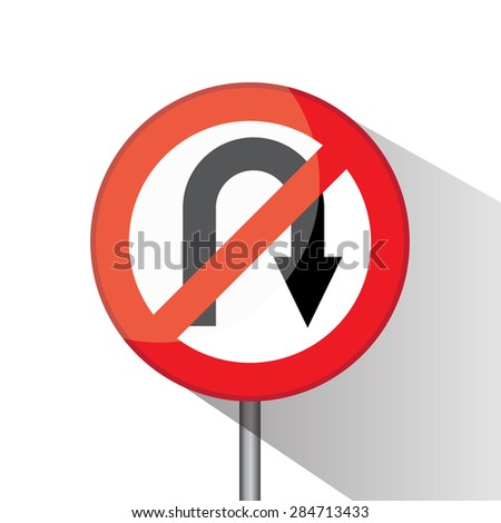 Traffic circle shaped No U Turn (Right) sign with post on white background