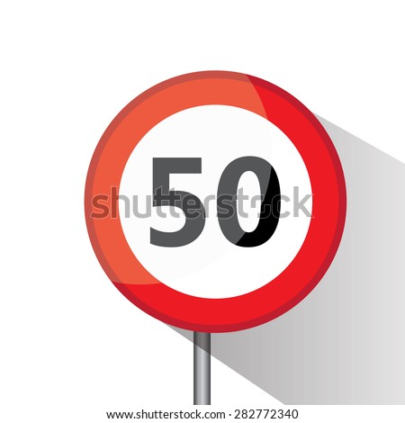 Traffic circle shaped Speed Limited (50 km/h) sign with post on white background
