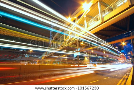 traffic city night - stock photo