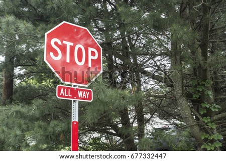 traffic classic all sides red and white stop sign with trees