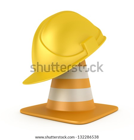 Traffic cone and hardhat isolated on white background - stock photo