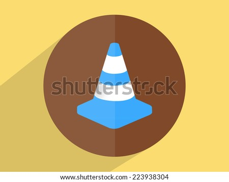 Traffic cone ,Flat design style - stock photo
