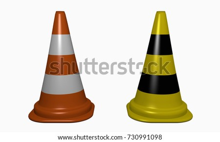 Traffic cone for securing the danger point in orange-white and yellow-black. 3d Rendering