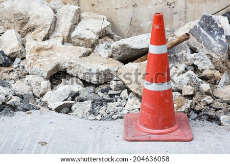 Traffic cone in construction - stock photo