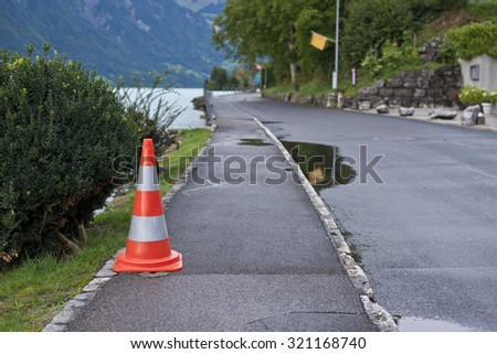 Traffic cone in the road