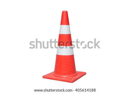Traffic cone isolated on white background - stock photo