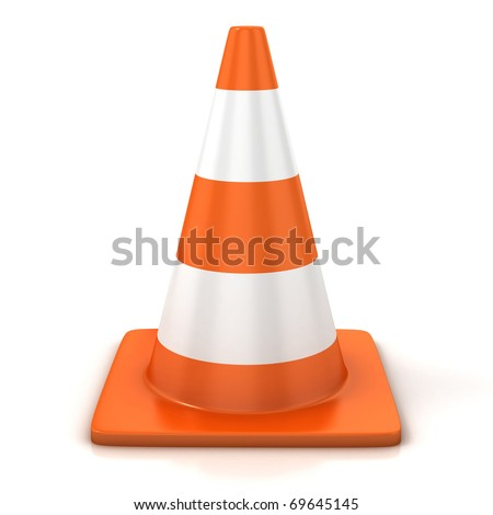 traffic cone isolated over white - stock photo