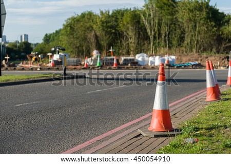 Traffic cone on a roundabout under construction.
