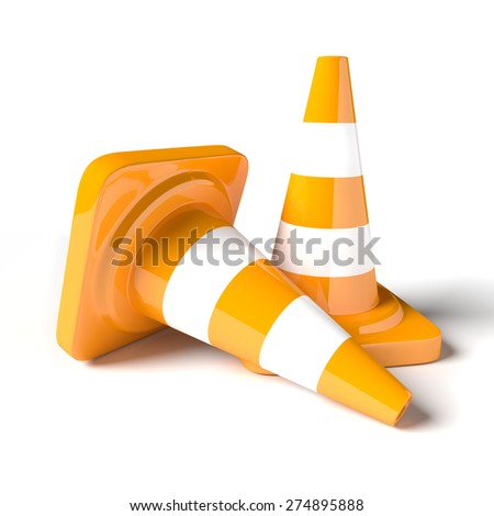 Traffic cone on the white background. 3D rendered image.
