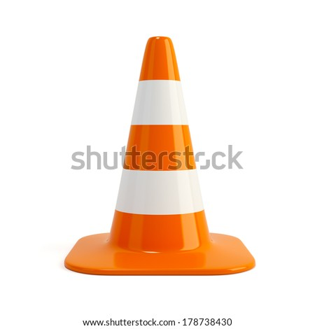 Traffic cone. Road sign isolated on white - stock photo