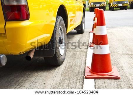 Traffic cone sign. - stock photo