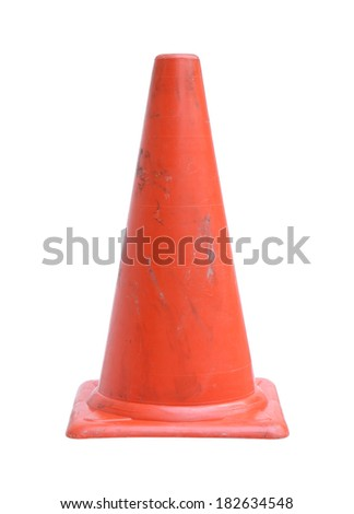 Traffic cone (with clipping path) isolated on white background - stock photo