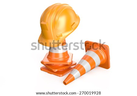 Traffic cones and hardhat  isolated on white background - stock photo