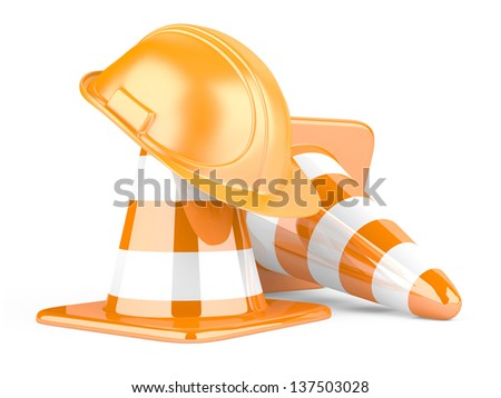 Traffic cones and helmet. Icon isolated on white background