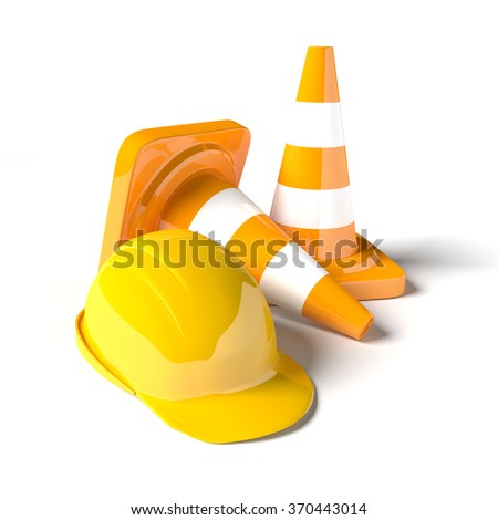 Traffic cones and helmets as transport industrial objects.