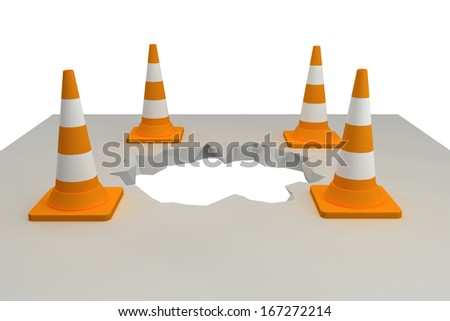 traffic cones around the pit.  isolated on white background. 3d - stock photo