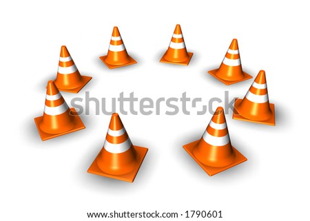 Traffic cones arranged in a circle