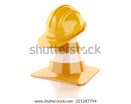 Traffic cones, Helmet. Under construction concept. 3d illustration