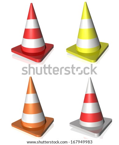 traffic cones many colors
