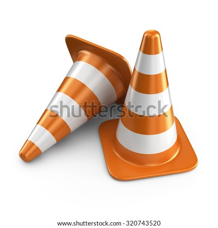 Traffic cones. Road sign. 3D Icon isolated on white background - stock photo