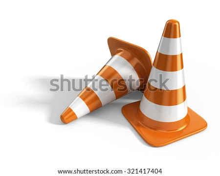 Traffic cones. Road sign. 3D Icon isolated on white background
