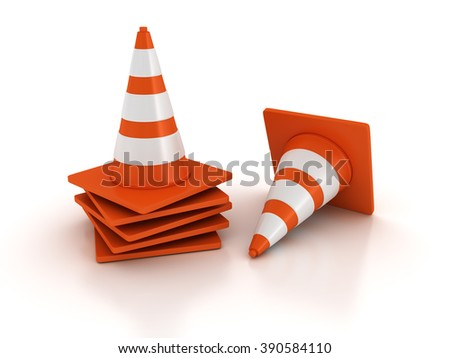 Traffic Cones Stack on White Background - High Quality 3D Render   - stock photo