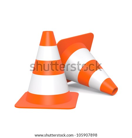 Traffic Cones - Two Traffic Cones isolated on a white background