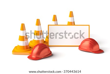 Traffic cones with work helmet and informatic table isolated on the white. 3D render image. - stock photo