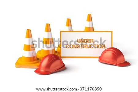 Traffic cones with work helmet and informatic table isolated on the white. 3D render image. There is image without text (empty table) in my portfolio. - stock photo