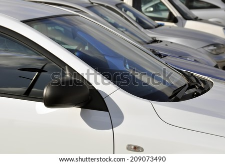 Traffic congestion: View of parked cars in crowded car park - stock photo